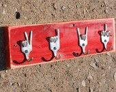 Silver ROCK ON x PEACE x LOVE Special Salad Fork Collector set 3 Silverware Coat Hooks. $30.00, via Etsy.