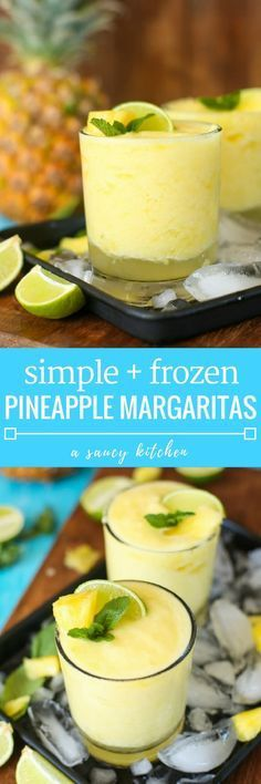 Frozen Pineapple Margaritas Pineapple freshly squeezed lime juice tequila and triple sec are combined in these light naturally sweetened & refreshing Frozen Pineapple Margarita! The post Frozen Pineapple Margaritas appeared first on Getränk. Pineapple Margarita, Frozen Pineapple, Milk Shakes, Party Drinks, Fun Drinks, Beverages, Mixed Drinks, Tiki Party, Fun Cocktails