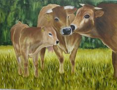 "Famille Blonde D'Aquitaine  OIL CANVAS 48""X60"" Aquitaine, Cow, Canvas, Painting, Animals, Tela, Animales, Animaux, Painting Art"