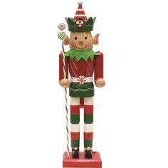 The Holiday Aisle Peppermint Twist Wooden Christmas Elf Nutcracker