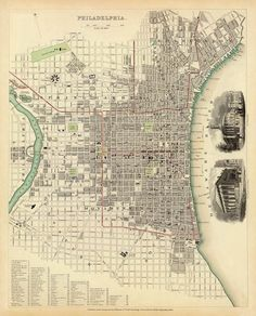 Antique Philadelphia city map Print  25 x 31  by AncientShades, $45.00