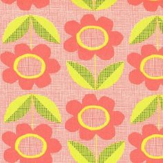 Organic Havana Blooms in Red Coral Fabric