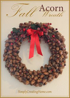 Fall acorn wreath tutorial, great decoration for Christmas too! Acorn Crafts, Fall Crafts, Holiday Crafts, Holiday Decor, Holiday Fun, Wreaths And Garlands, Holiday Wreaths, Christmas Decorations, Wreath Crafts