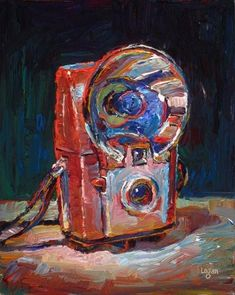 "Daily Paintworks - ""Kodak Brownie Starflash Camera Red"" - Original Fine Art for Sale - © Raymond Logan"