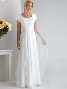 A-Line/Princess Square Floor-Length Chiffon White Prom Gown with Ruffles