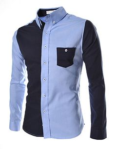 (AL738-BLUE) Slim Fit 2 Tone Stretchy Pocket Patched Long Sleeve Shirts