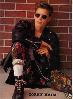 Those trousers are simply epic 80s Fashion, Girl Fashion, Blonde Goth, Corey Haim, 80s Movies, Lost Boys, Celebs, Celebrities, Celebrity Crush
