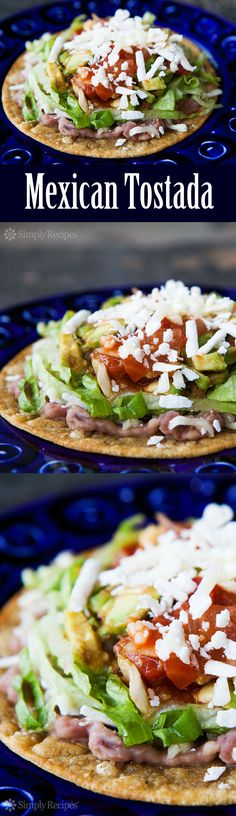 Mexican Tostada ~ Bean tostada with crispy fried corn tortilla topped with refried beans, grated cheese, chopped avocado and tomato, sliced lettuce, and salsa. ~ SimplyRecipes.com