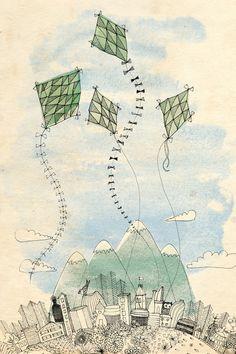 Four Happy kites archival art print 8x10 by lovelysweetwilliam