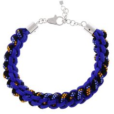 Dsquared2 Braided Necklace with Strass ($610) ❤ liked on Polyvore featuring jewelry, necklaces, blue, blue rhinestone jewelry, dsquared2, woven necklace, braid jewelry and woven jewelry