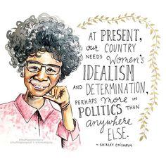 Women's History Month Day 4 - Shirley Chisholm. Illustration by Kimothy Joy. #herstory