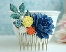 dusty orange and blue flower - Google Search