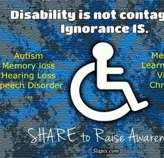 I absolutely love this poster. I think that ignorance is prominent in almost any facet of life, but particularly with disabilities. Educating people and spreading awareness is the only solution to gaining understanding. Disability Quotes, Disability Awareness, Science Education, Health Education, Physical Education, Social Work, Social Skills, Open Instagram Account, Autism Learning