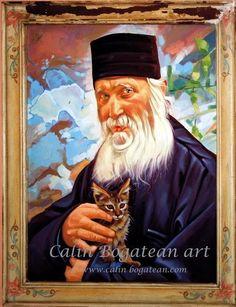 Părintele Ioan de la Sihăstria portret de călugăr portret pictat în ulei pe pânză pictură originală tablou portret în ulei pe pânză pictură realistă hiperrealistă portret unicat semnat de pictorul român Călin Bogătean, membru al Uniunii Artistilor Plastici din Romania. Părintele Ioan de la Sihăstria portret de călugăr pictură tablou în ulei Artist, Painting, Artists, Painting Art, Paintings, Painted Canvas, Drawings