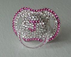 Initial J Pink & Crystal Swarovski Pacifier Princess Baby Girl BLING Rhinestone Diamond Encrusted Binky Dummy Soother Personalized 0-6m