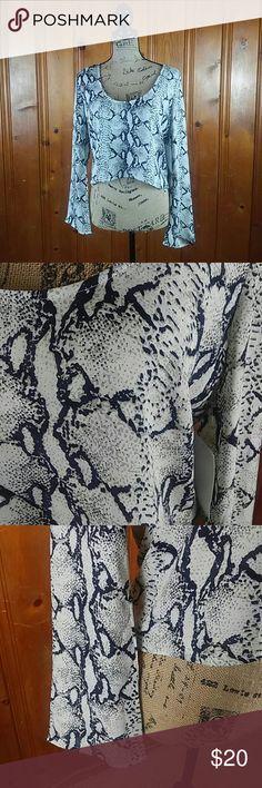 "Tobi long sleeve snake print crop top Sz M Gorgeous snake print long sleeve crop top. 18"" underarm to underarm. 20"" in length & 24"" sleeve length. Excellent party blouse. Tobi Tops Crop Tops"