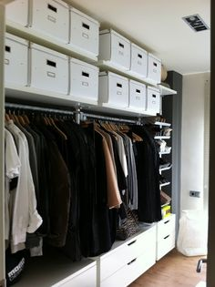 great storage from Ikea Stolmen. no more 'where's my stuff' Wardrobe Storage, Wardrobe Closet, Master Closet, Closet Space, Closet Storage, Bedroom Storage, Kallax, Stolmen Ikea, Walk In Closet Inspiration