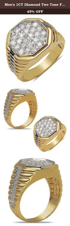 Men's 1CT Diamond Two Tone Fashion Ring in 10k Gold,10.5. Men's 1CT Diamond Two Tone Fashion Ring in 10k Gold. Product Details: Dimension - 16.5mm Diamond Weight - 1CT, Stone Color - I2-3. Diamonds - White & Brown- Natural, Black & Blue-Treated. Nissoni Jewelry is an excellent source of exclusive jewelry for all occasions such as Engagement, Wedding, Anniversary and more. Subscribe to our site today for new arrivals and best deals!.
