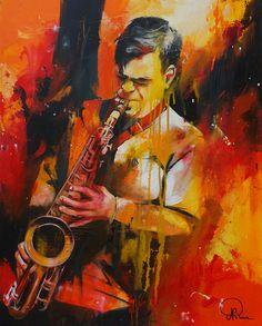 Nathalie Roure Perrier Saxophoniste 80 x 60 cm