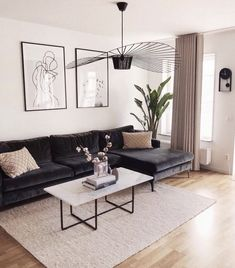 brilliant solution small apartment living room decor ideas and remodel 27 ⋆ Home & Garden Design Small Apartment Living, Home Living Room, Living Room Designs, Dark Sofa Living Room, Nordic Living Room, Living Room Decor With Black Couches, White Living Room Furniture, Black Sofa Living Room Decor, Dark Couch