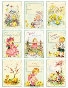 Vintage Illustration Vintage inspired Easter Greeting Card Tags, ATC Digital Collage Sheet, Printable Page Instant Downlo - Easter Greeting Cards, Vintage Greeting Cards, Vintage Paper Dolls, Vintage Easter, Scrapbook Paper Crafts, Card Tags, Collage Sheet, Paper Art, Creations