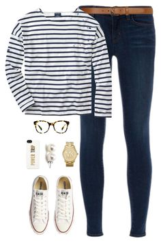 """stripes"" by classically-preppy ❤ liked on Polyvore featuring moda, J Brand, Converse, Warby Parker, Dorothy Perkins, Saint James, Michael Kors, Bounkit y Kate Spade"