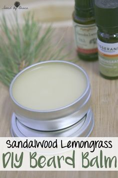 Sandalwood Lemongrass DIY Beard Balm- The perfect gift for bearded guys! This easy to make DIY Beard Balm is so simple to do and it smells fantastic.