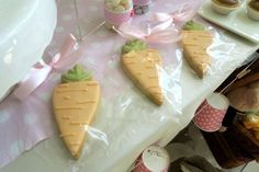 What cute carrot cookies at this Bunny Rabbit Themed Birthday Party!! See more party ideas and share yours at CatchMyParty.com #carrots #cookies #bunnies