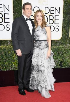 Actors John Travolta (L) and Kelly Preston attend the 74th Annual Golden Globe Awards at The Beverly Hilton Hotel on January 8, 2017 in Beverly Hills, California.