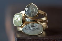 NATURAL SILVERY-WHITE ROSE CUT DIAMOND IN 14KT GOLD || Alexis Russell