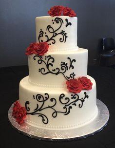 Calumet Bakery Black Scrolling Red Roses Wedding Cake