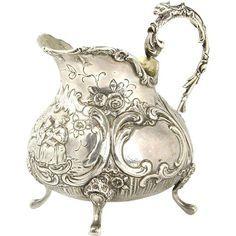 Silver Milk Jug Creamer by Gebruder Dingeldein Hanau Germany Circa 1870 Vintage Silver, Antique Silver, Bronze, Milk Jug, Silver Jewelry, Sterling Silver, Decorative Metal, Ottomans, Pewter