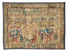 """Tapestry from the series """"Deeds and Triumphs of Dom Joao de Castro"""" The Triumphal Procession Continued: Displaying Captured Arms and Armour.c. 1550/57,produced under Bartholomeeus Adriaensz (?),Brussels, after 1557.Wool, silk, metal; 354 x 473 cm.Vienna, Kunsthistorisches Museum, Kunstkammer© KHM-Museumsverband"""