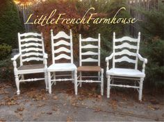 L A D D E R B A C K  Painted Set of 4 Ladder Back Dining Chairs Mismatched Vintage Country French Farmhouse Rustic Substantial Size & Scale (1.00 USD) by MyLilFrenchFarmhouse