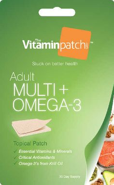 Adult Multi-vitamin + OMEGA 3 - 30 Pack 100% Natural All-natural supplements. No fillers or preservatives. No artificial colors or sweeteners. Essential Nutrition Complete multi-vitamin for adults plusessential OMEGA 3 fatty acids. Convenience Just put on a patch and go. Better absorption than pills. No mess, no fuss, no hassles.