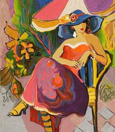 Jasmine 2004 serigraph Portrait of Fauvist Colored Woman with Hat Sitting Outdoors Under Umbrella by Isaac Maimon Art And Illustration, Painting & Drawing, Watercolor Paintings, Figurative Kunst, School Of Visual Arts, People Art, Love Art, Art Gallery, Canvas Art