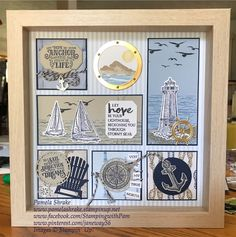 """Sailing Home Framed Sampler. Go to my FB Page, """"Stamping with Pam"""" for details on this sampler. Sailing Home Framed Sampler. Go to my FB Page, Stamping with Pam for details on this sampler. Shadow Box Frames, 3d Frames, Nautical Cards, Masculine Birthday Cards, Candy Cards, Craft Show Ideas, Stamping Up Cards, Frame Crafts, Marianne Design"""