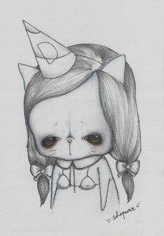 """Dunce"" is available now in my etsy shop (www.etsy.com/shop/ShePurr) meowww! #shepurr #popsurrealism #dunce #dumb #cat #catart #kitten #kitty #drawingoftheday #drawing #painting #art #artofinstagram #gato #sad #cute #bighead #bigeyedart #bigeyes #meow #meowbrow #lowbrow #illustreeters #illustration #dollartistry"
