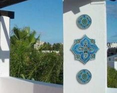 Garden decor with mandala design, Outdoor wall art set of 3 ceramic tiles Garden art Outdoor wall sculpture Circle art for garden Mandala Decorative Wall Tiles, Ceramic Wall Art, Ceramic Decor, Ceramic Bowls, Modern Outdoor Wall Art, Art Mural En Plein Air, Moroccan Wall Art, Moroccan Tiles, Moroccan Decor