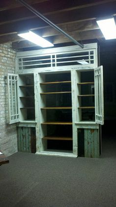 Bookcase w/ sidelights open...