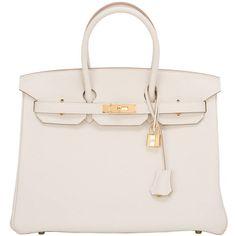 Pre-owned Hermes Craie Togo Birkin 35cm Gold Hardware ($23,750) ❤ liked on Polyvore featuring bags, handbags, bolsas, malas, purses, sacs, handbags and purses, hermes birkin bags, top handle bags and pink leather purse