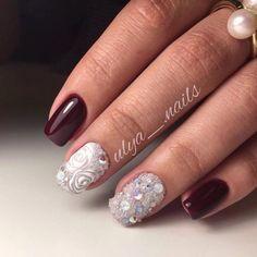 Beautiful evening nails, Burgundy nails ideas, Caviar nails, Evening nails, Fall…