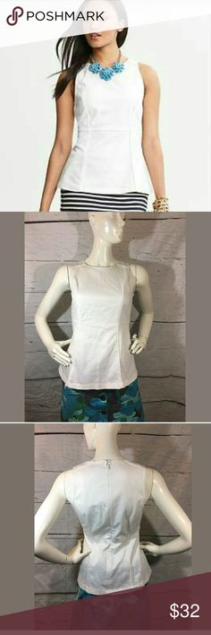 Banana Republic Sleeveless Piped Peplum Shell Top Banana Republic Sleeveless Piped Peplum Shell Top White Size 2  Very good used condition. Not as bright as stock picture.   17 inches pit to pit.  25 inches long.   LB Banana Republic Tops Blouses