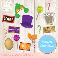 These PRINTABLE Photo booth props inspired by Willy Wonka will have your guests looking and feeling the part as they enjoy your scrumdiddlyumptious photo booth. With all your favourite characters f...