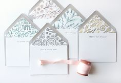 Moglea Letterpress Stationery via Oh So Beautiful Paper SUCH beautiful envelope liners!