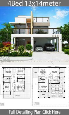 Modern House Plans and design plan with 4 Bedrooms design plan with 4 bedrooms Let check the floor plans for more detailing: One Storey House, 2 Storey House Design, Bungalow House Design, Small House Design, Modern House Design, Two Storey House Plans, Modern House Floor Plans, Home Design Floor Plans, Dream House Plans