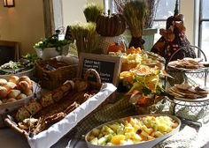 Bread, cheese, fruit and salad buffet