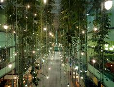 It's difficult for me to appreciate shopping mall design (there are some exceptions), but the hanging plants, pendant lights, and reflective glass in Herzog & de Meuron's mixed-use development in Munich is pretty amazing.