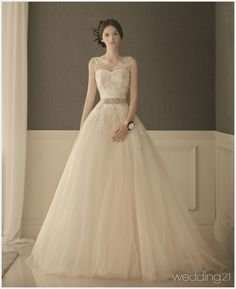 This chic elegant gown from Dearte featuring romantic floral embroideries and a jeweled sash is simple yet charming! Princess Bridal, Princess Wedding Dresses, Classic Wedding Dress, Wedding Dress Styles, Designer Wedding Gowns, Designer Dresses, Short Bridesmaid Dresses, Bridal Dresses, Weeding Dress