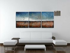 Triptych Abstract Landscape Tree painting Acrylic #art #painting @EtsyMktgTool http://etsy.me/2ijl9aI #abstractpainting #skyetaylorartist